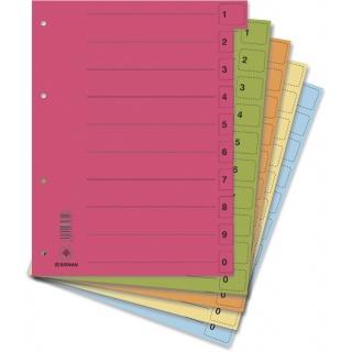 Przekładki DONAU, karton, A4, 235x300mm, 0-9, 50 kart z perforacją, mix kolorów, Przekładki kartonowe, Archiwizacja dokumentów