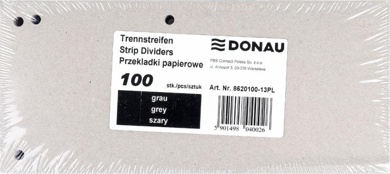 Przekładki DONAU, karton, 1/3 A4, 235x105mm, 100szt., szare, Przekładki kartonowe, Archiwizacja dokumentów
