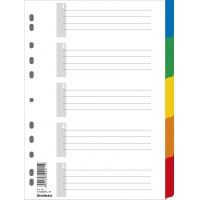 Dividers PP A4 225x297mm 5+1 sheets assorted colours