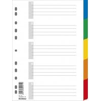 Przekładki DONAU, PP, A4, 225x297mm, 5+1 kart, mix kolorów, Przekładki polipropylenowe, Archiwizacja dokumentów
