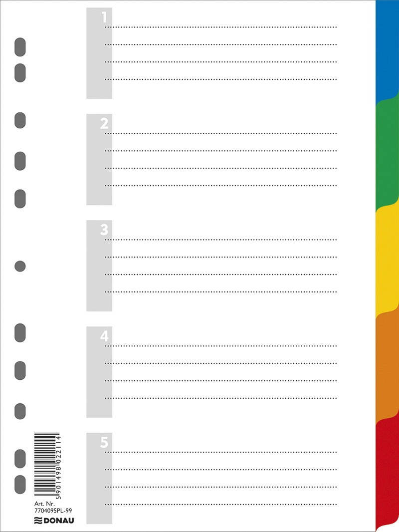 Dividers DONAU, PP, A4, 225x297mm, 5+1 sheets, assorted colours