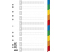 Dividers DONAU, PP, A4, 225x297mm, 10+1 sheets, assorted colours