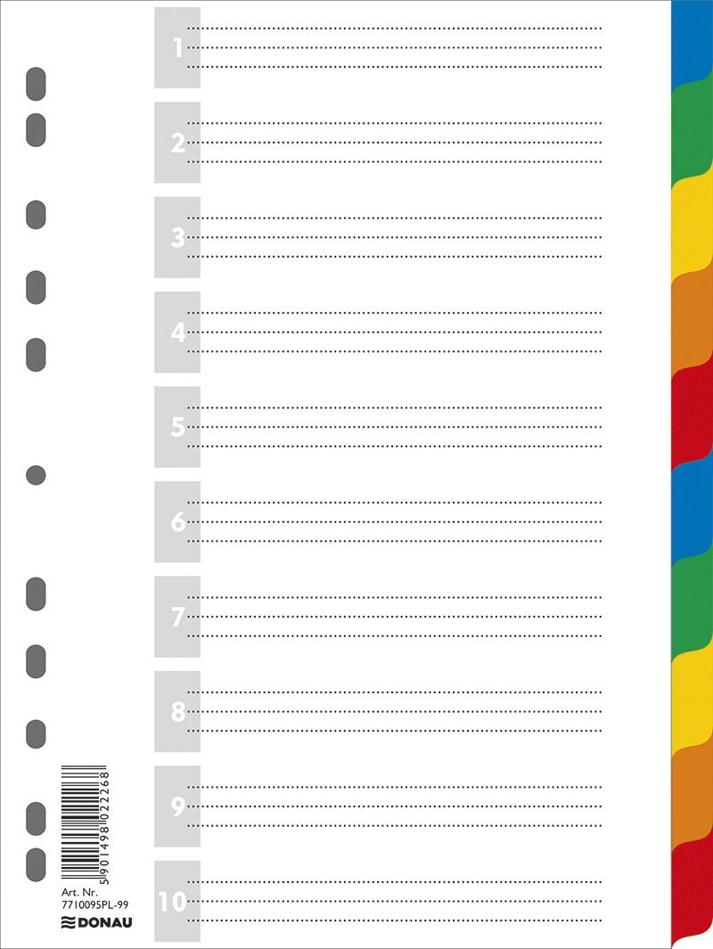 Dividers PP A4 225x297mm 10+1 sheets assorted colours