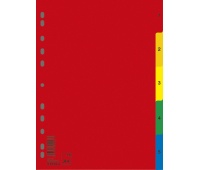 Dividers DONAU, PP, A4, 230x297mm, 1-5, 5 sheets, assorted colours