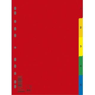 Przekładki DONAU, PP, A4, 230x297mm, 1-5, 5 kart, mix kolorów, Przekładki polipropylenowe, Archiwizacja dokumentów