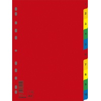 Dividers PP A4 230x297mm 1-10 10 sheets assorted colours