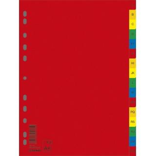 Przekładki DONAU, PP, A4, 230x297mm, A-Z, 16 kart, mix kolorów, Przekładki polipropylenowe, Archiwizacja dokumentów