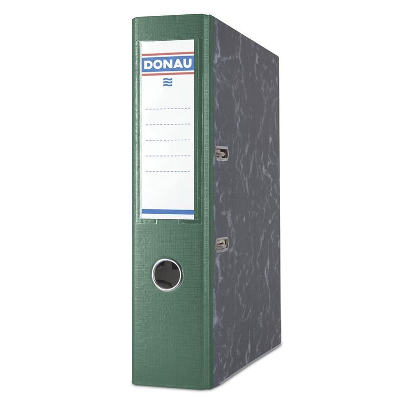 Segregator DONAU Marble, PP-karton, A4/75mm, zielony, Segregatory kartonowe, Archiwizacja dokumentów