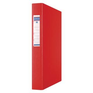 Segregator ringowy DONAU, PP, A4/4R/25mm, czerwony, Segregatory ringowe, Archiwizacja dokumentów