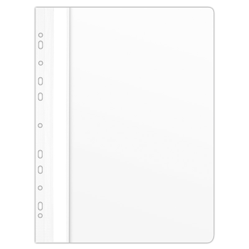 Report File DONAU, PVC, A4, hard, 150/160 micron, perforated, white
