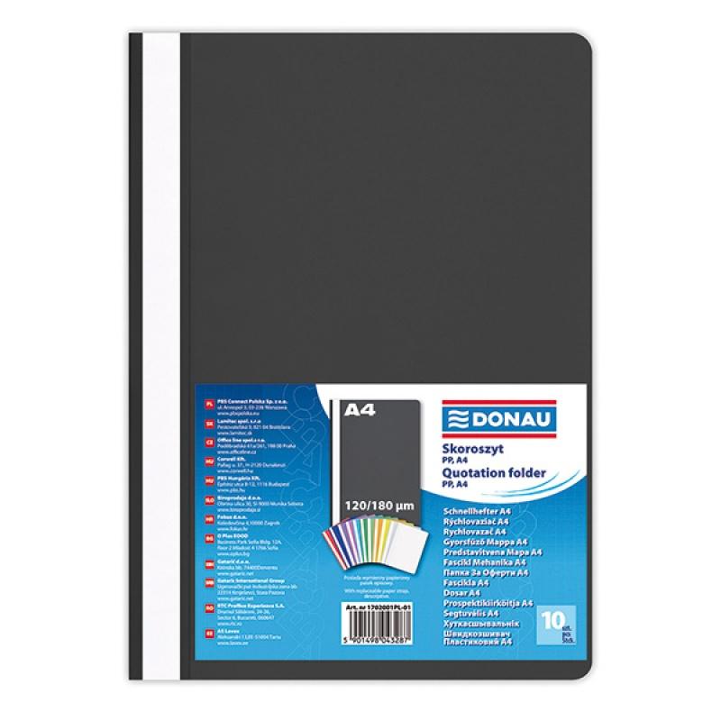 Report File DONAU, PP, A4, standard, 120/180 micron, black