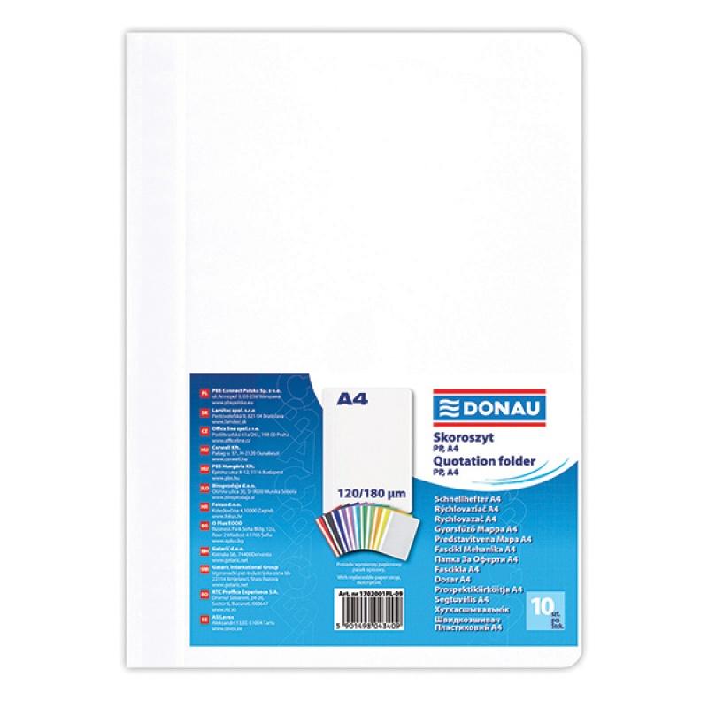 Skoroszyt DONAU, PP, A4, standard, 120/180mikr., biały, Skoroszyty podstawowe, Archiwizacja dokumentów