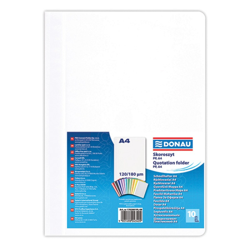 Report File DONAU, PP, A4, standard, 120/180 micron, white