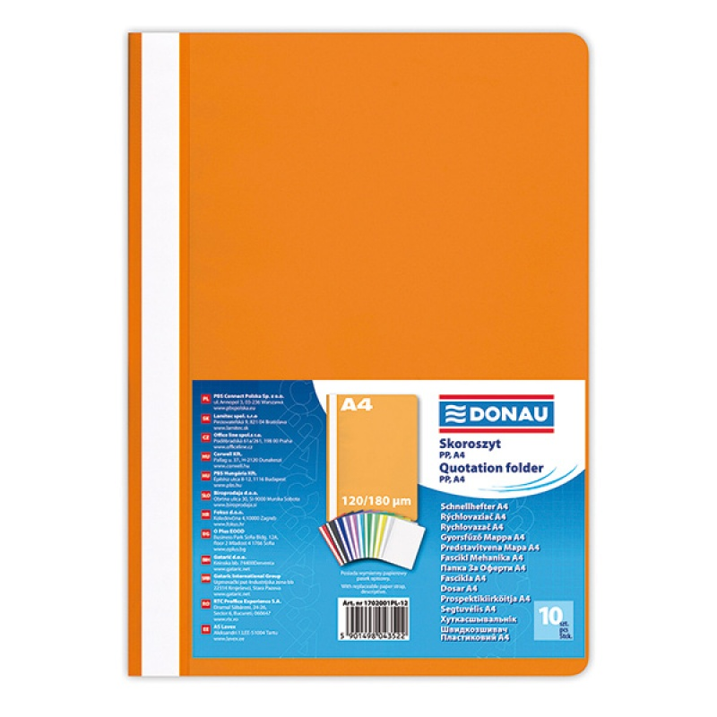 Report File DONAU, PP, A4, standard, 120/180 micron, orange