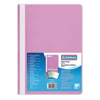 Skoroszyt DONAU, PP, A4, standard, 120/180mikr., jasnoróżowy, Skoroszyty podstawowe, Archiwizacja dokumentów