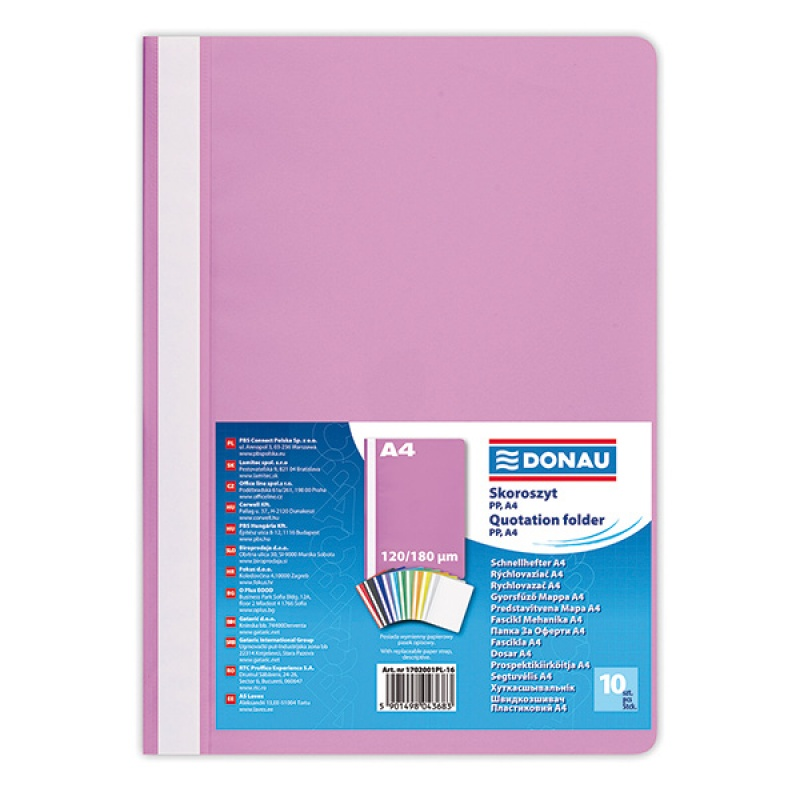Report File DONAU, PP, A4, standard, 120/180 micron, light pink