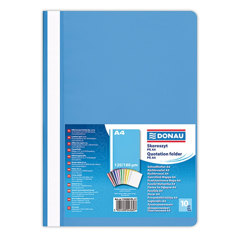 Report File DONAU, PP, A4, standard, 120/180 micron, light blue