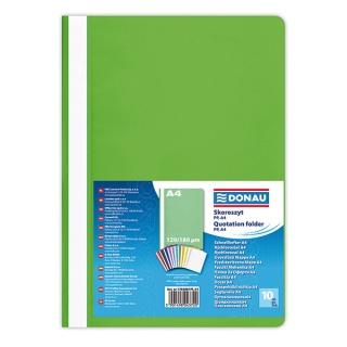 Skoroszyt DONAU, PP, A4, standard, 120/180mikr., jasnozielony, Skoroszyty podstawowe, Archiwizacja dokumentów
