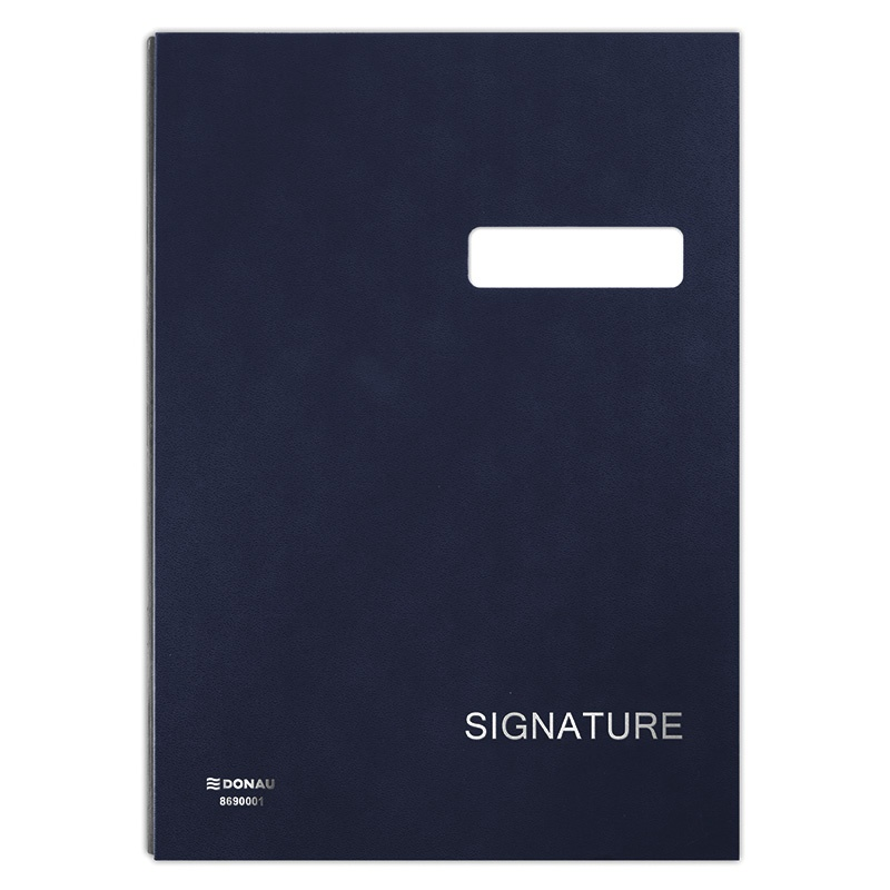 Signature Book DONAU, cardboard/PP, A4, 450gsm, 20 compartments, navy blue