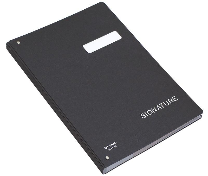 Signature Book DONAU, cardboard, A4, 450gsm, 20 compartments, black