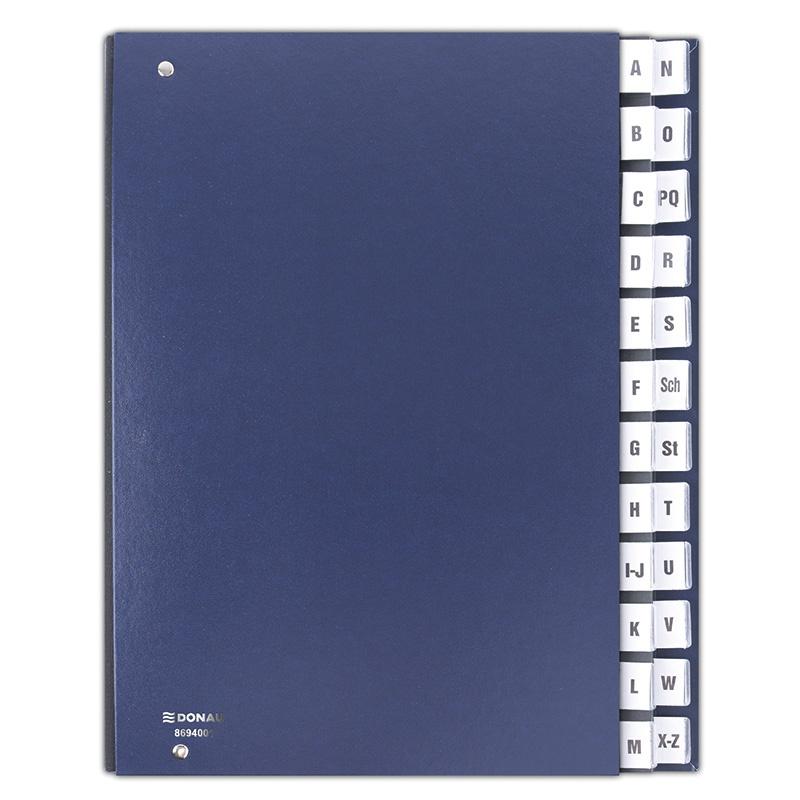 Correspondence Log Book DONAU, cardboard, A4, A-Z, navy blue