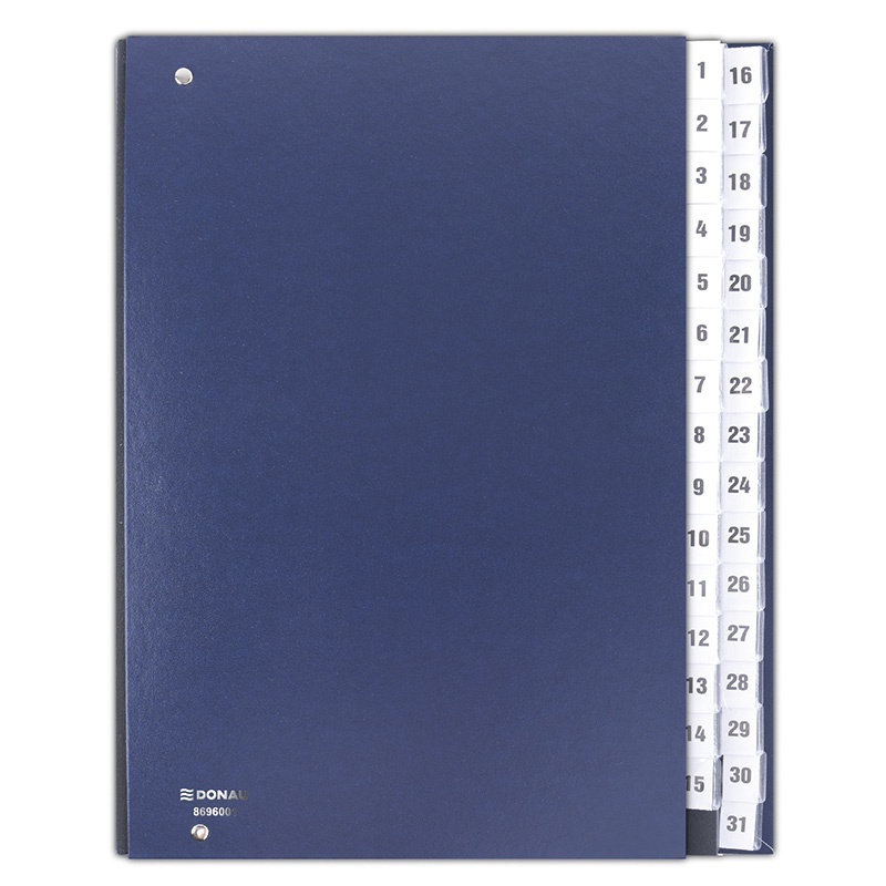 Correspondence Log Book DONAU, cardboard, A4, 1-31, navy blue