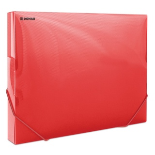 Teczka z gumką przestrz. DONAU, PP, A4/30, 700mikr., transparentna czerwona, Teczki przestrzenne, Archiwizacja dokumentów
