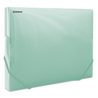 Teczka z gumką przestrz. DONAU, PP, A4/30, 700mikr., transparentna zielona, Teczki przestrzenne, Archiwizacja dokumentów