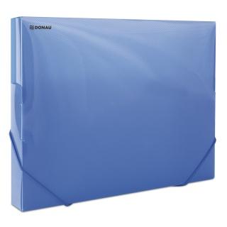 Teczka z gumką przestrz. DONAU, PP, A4/30, 700mikr., transparentna niebieska, Teczki przestrzenne, Archiwizacja dokumentów