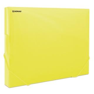 Teczka z gumką przestrz. DONAU, PP, A4/30, 700mikr., transparentna żółta, Teczki przestrzenne, Archiwizacja dokumentów