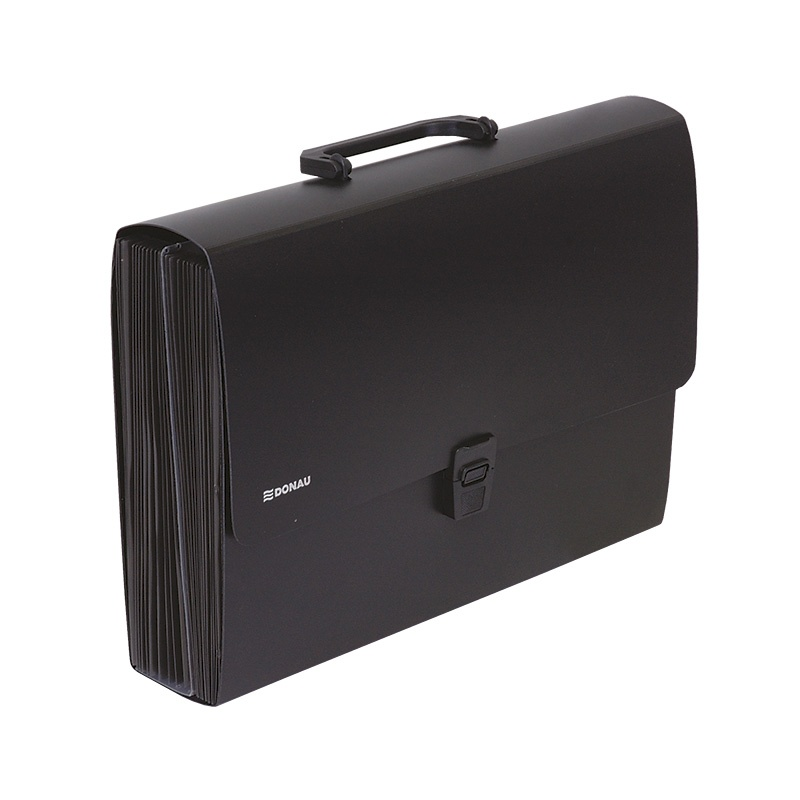 Expanding File Folder DONAU, PP, A4, with handle , black
