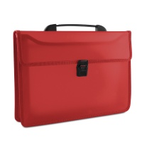 Two-compartment Briefcase DONAU, PP, A4, with handle, transparent red