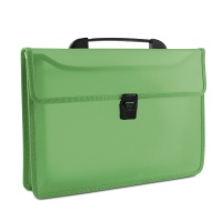 Two-compartment Briefcase DONAU, PP, A4, with handle, transparent green