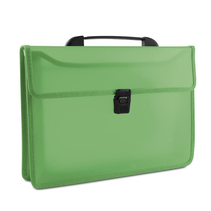 Teczka dwukieszeniowa DONAU, PP, A4, z rączką, transparentna zielona, Teczki przestrzenne, Archiwizacja dokumentów