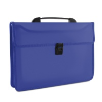 Two-compartment Briefcase DONAU, PP, A4, with handle, transparent blue
