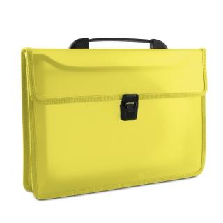 Teczka dwukieszeniowa DONAU, PP, A4, z rączką, transparentna żółta, Teczki przestrzenne, Archiwizacja dokumentów