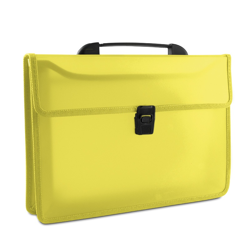 Two-compartment Briefcase PP A4 with handle transparent yellow