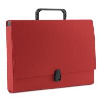 Teczka-pudełko PP A4/5cm z rączką i zamkiem czerwona, Teczki przestrzenne, Archiwizacja dokumentów