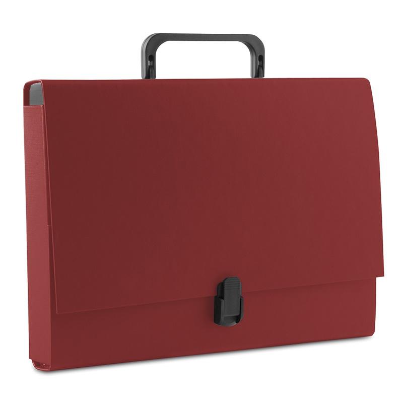 Teczka-pudełko DONAU, PP, A4/5cm, z rączką i zamkiem, bordowa, Teczki przestrzenne, Archiwizacja dokumentów
