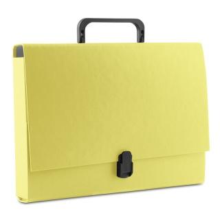 Teczka-pudełko DONAU, PP, A4/5cm, z rączką i zamkiem, żółta, Teczki przestrzenne, Archiwizacja dokumentów