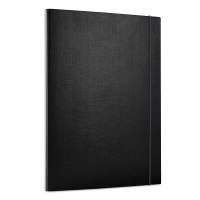 Elasticated File PP A4/15 3 flaps black