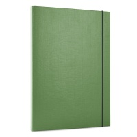 Elasticated File PP A4/15 3 flaps green