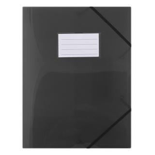 Teczka z gumką DONAU, PP, A4, 480mikr., 3-skrz., półtransparentna czarna, Teczki płaskie, Archiwizacja dokumentów