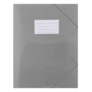 Teczka z gumką DONAU, PP, A4, 480mikr., 3-skrz., półtransparentna dymna, Teczki płaskie, Archiwizacja dokumentów