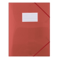 Elasticated File DONAU, PP, A4, 480 micron, 3 flaps, transparent red