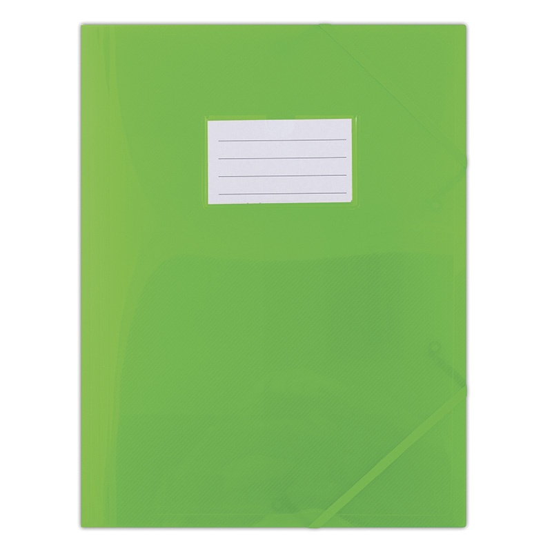Elasticated File DONAU, PP, A4, 480 micron, 3 flaps, transparent green
