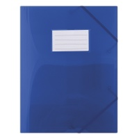 Elasticated File PP A4 480 micron 3 flaps transparent blue