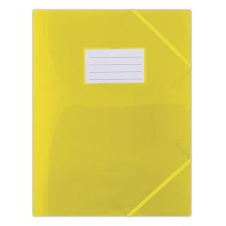 Teczka z gumką DONAU, PP, A4, 480mikr., 3-skrz., półtransparentna żółta, Teczki płaskie, Archiwizacja dokumentów