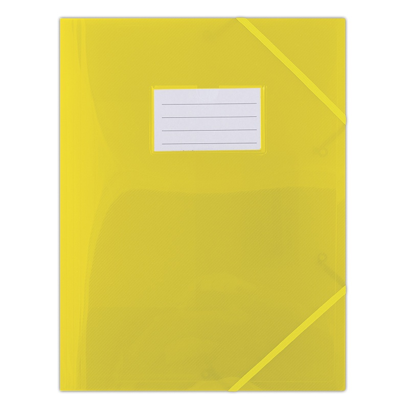 Elasticated File DONAU, PP, A4, 480 micron, 3 flaps, transparent yellow