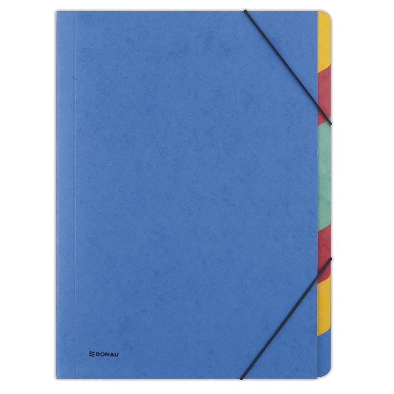 Elasticated File DONAU, pressed board, A4, 7 dividers, blue